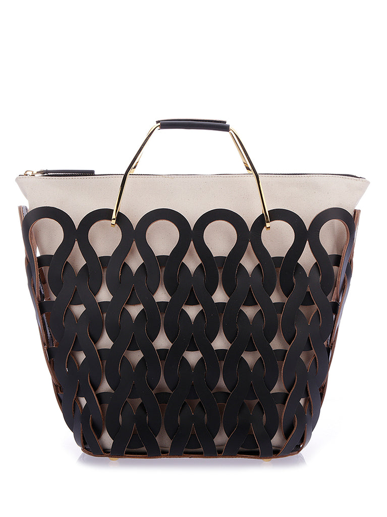 Woven Brass Handle Tote Bag - Only One Size / Black Marni Clearance Online Fake 7pjmXS