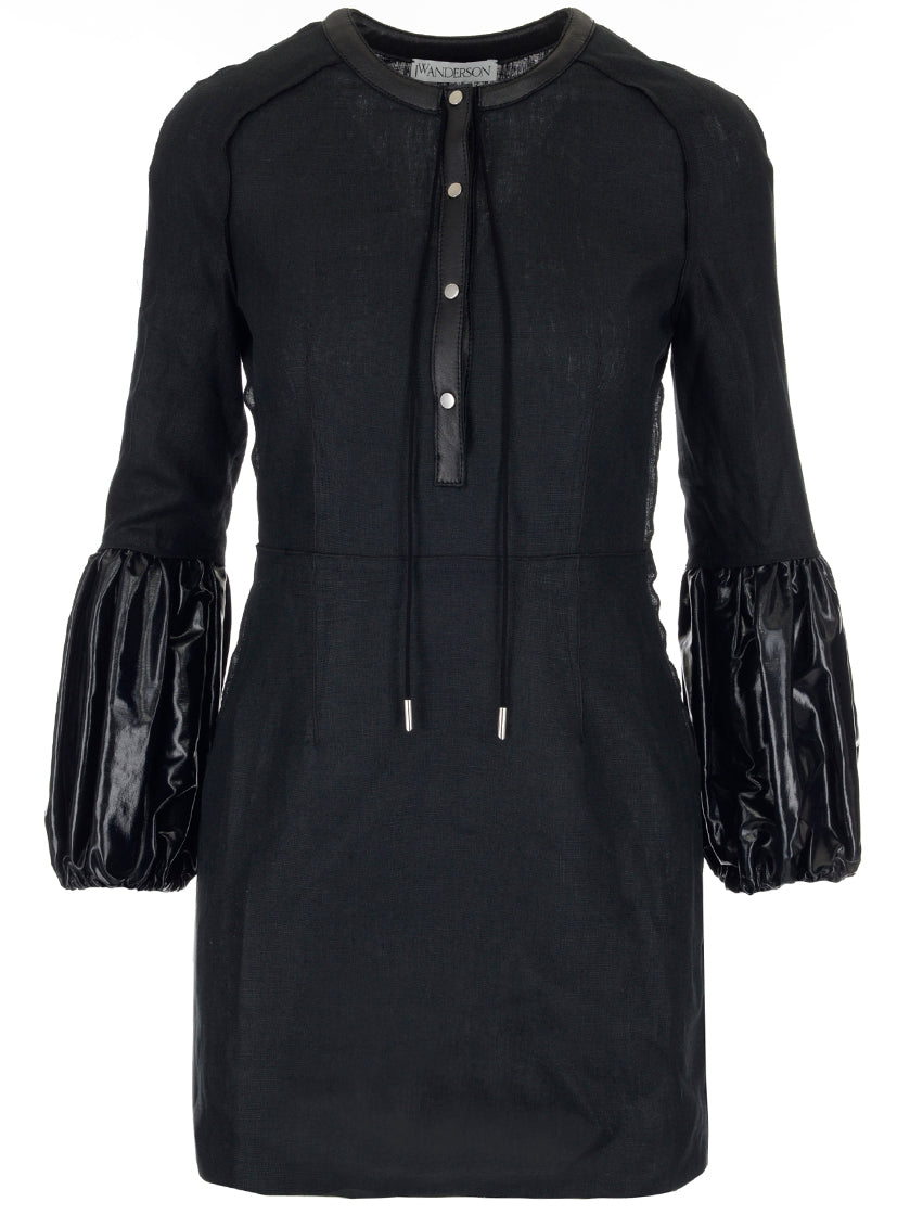 JW ANDERSON LEATHER PUFFED SLEEVE DRESS