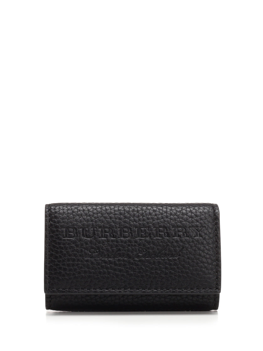 Burberry Logo Embossed Long Key Pouch, Black
