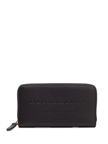 Burberry Embossed Logo Zip Wallet