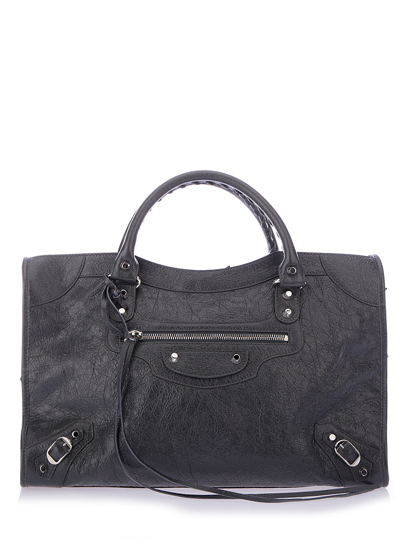 SMALL CLASSIC CITY LEATHER TOTE - GREY