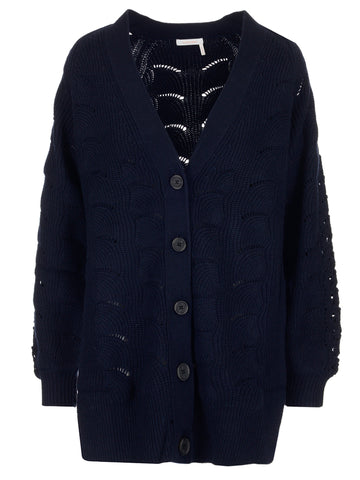 See By Chloé Oversize Lace Effect Cardigan