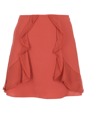 See By Chloé Ruffle Trim A-Line Mini Skirt