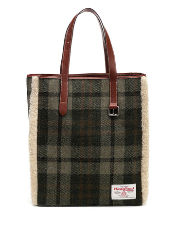 JW Anderson Harris Tweed Checked Shearling Tote Bag