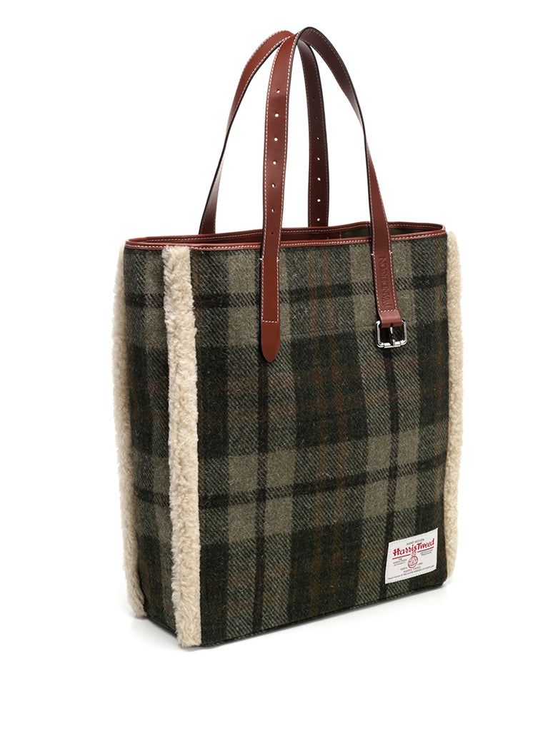 20d2cbaf6b00 JW Anderson Harris Tweed Checked Shearling Tote Bag – Cettire