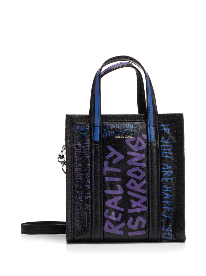 BALENCIAGA GRAFFITI BAZAR SHOPPER MINI TOTE BAG