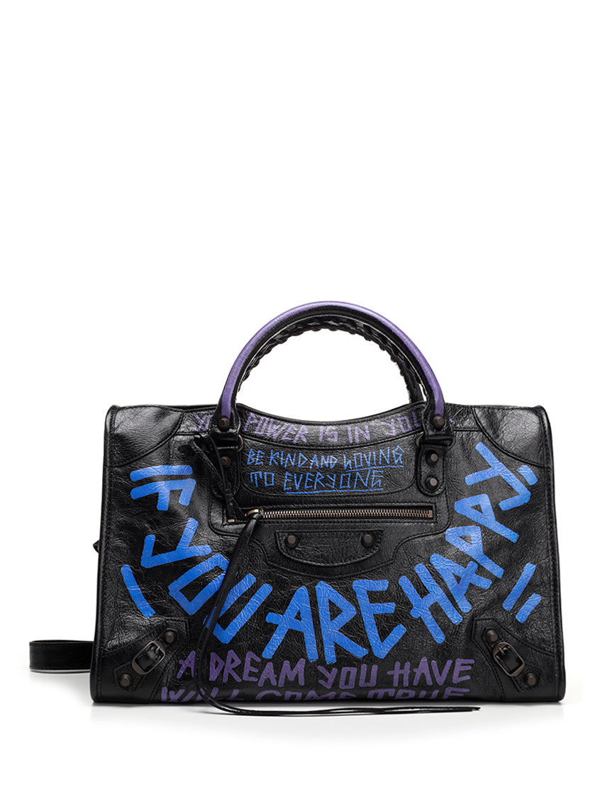BALENCIAGA CITY GRAFFITI TOTE BAG
