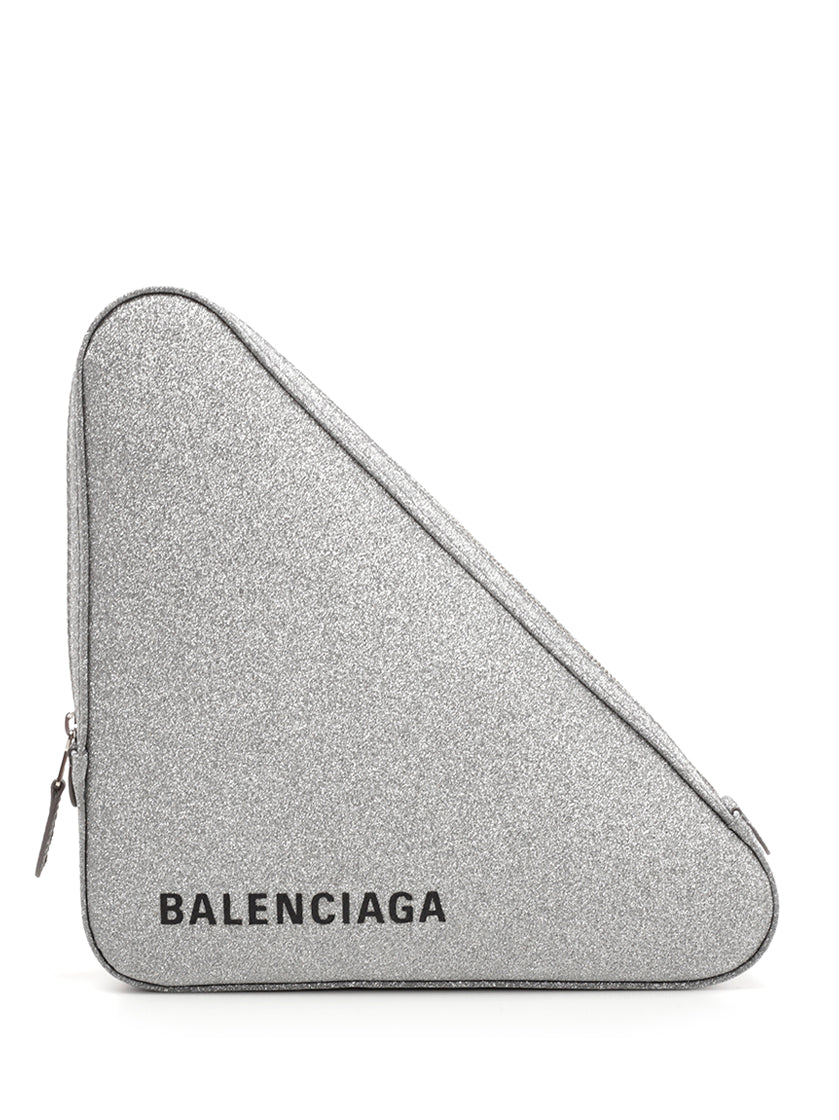BALENCIAGA GLITTER TRIANGLE CLUTCH BAG