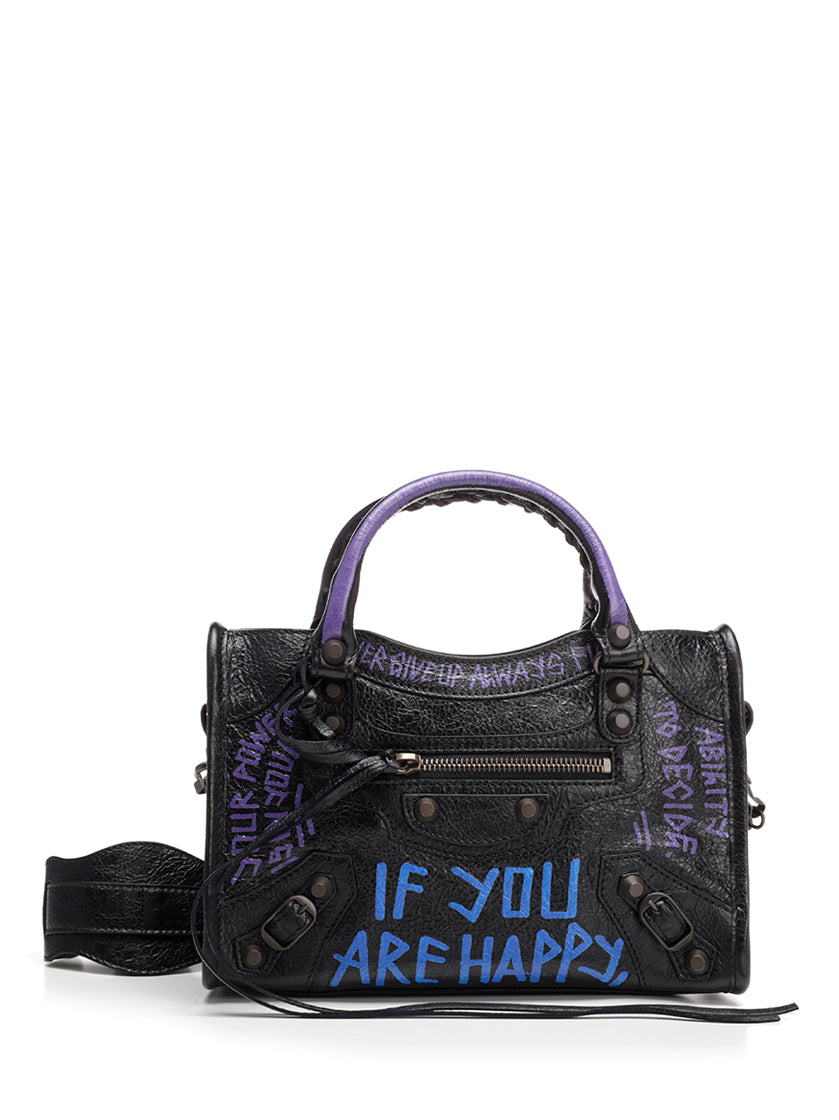 BALENCIAGA GRAFFITI CLASSIC CITY MINI TOTE BAG