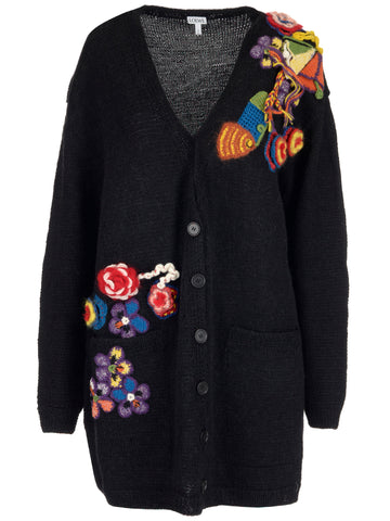 Loewe Oversized Floral Embroidered Cardigan