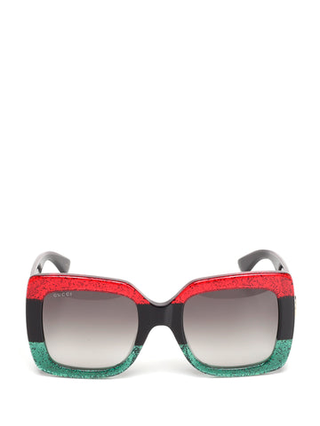 Gucci Square Striped Sunglasses