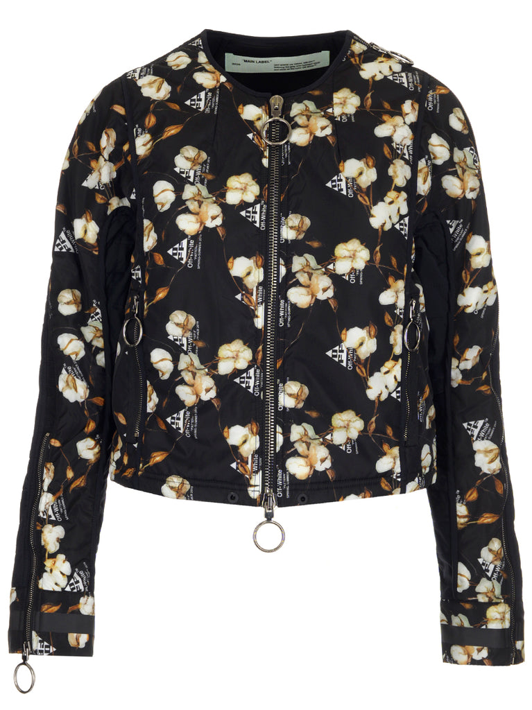 Off-White Floral Printed Zipped Jacket