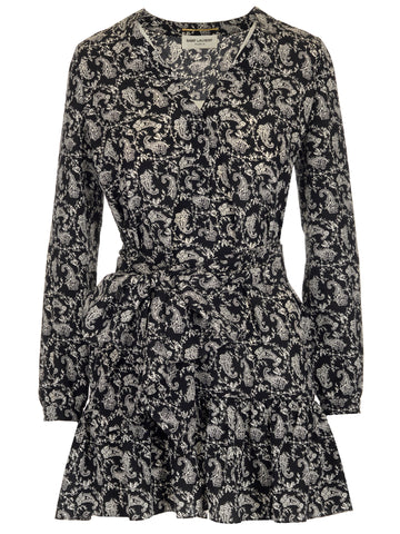 Saint Laurent V-Neck Paisley Print Mini Dress