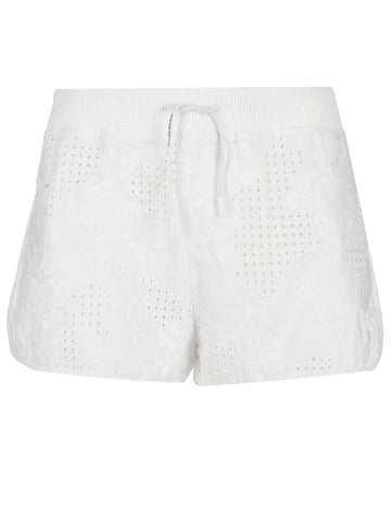 Off-White Embroidered Drawstring Shorts