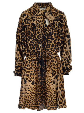 Saint Laurent Leopard Print Mini Dress