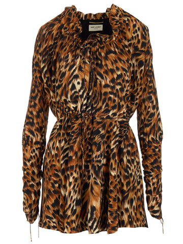 Saint Laurent Leopard Print Ruffle Mini Dress