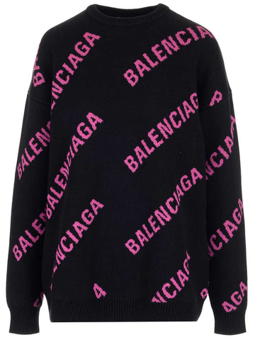 Balenciaga Allover Logo Sweater