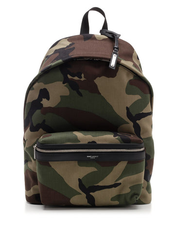 Saint Laurent Camouflage Effect Gabardine City Backpack
