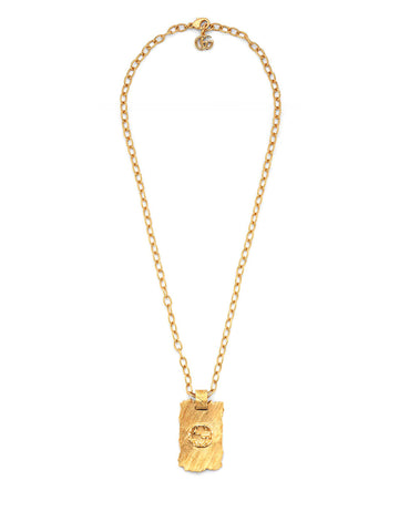 Gucci Interlocking G Textured Pendant Necklace