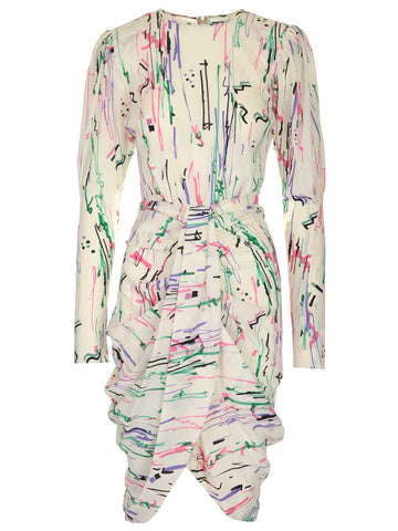 Isabel Marant Scribbles Printed Draped Dress