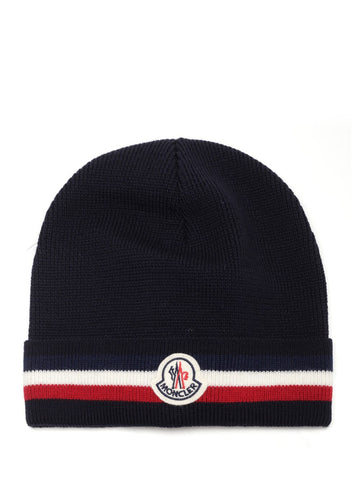 Moncler Striped Trim Logo Patch Beanie