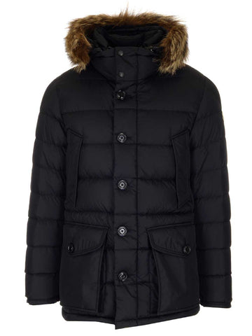 Moncler Cluny Fur Trimmed Puffer Jacket