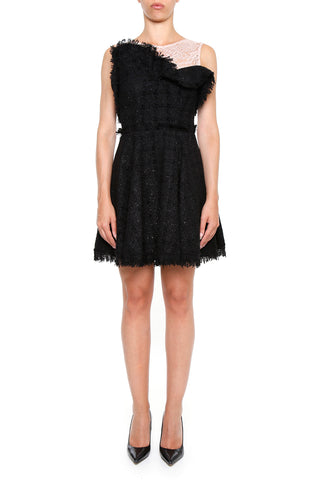 MSGM Lace and Tweed Detail Mini Dress