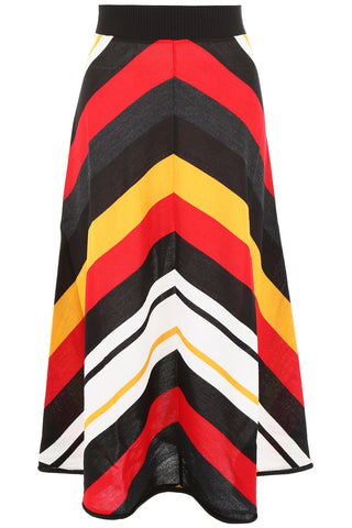MSGM Stripped Colour Block Knitted Skirt