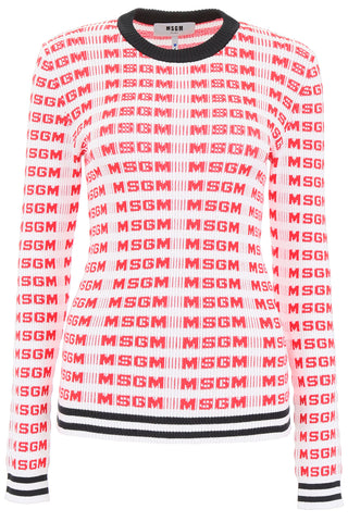 Msgm All Over Logo Print Knitted Sweater