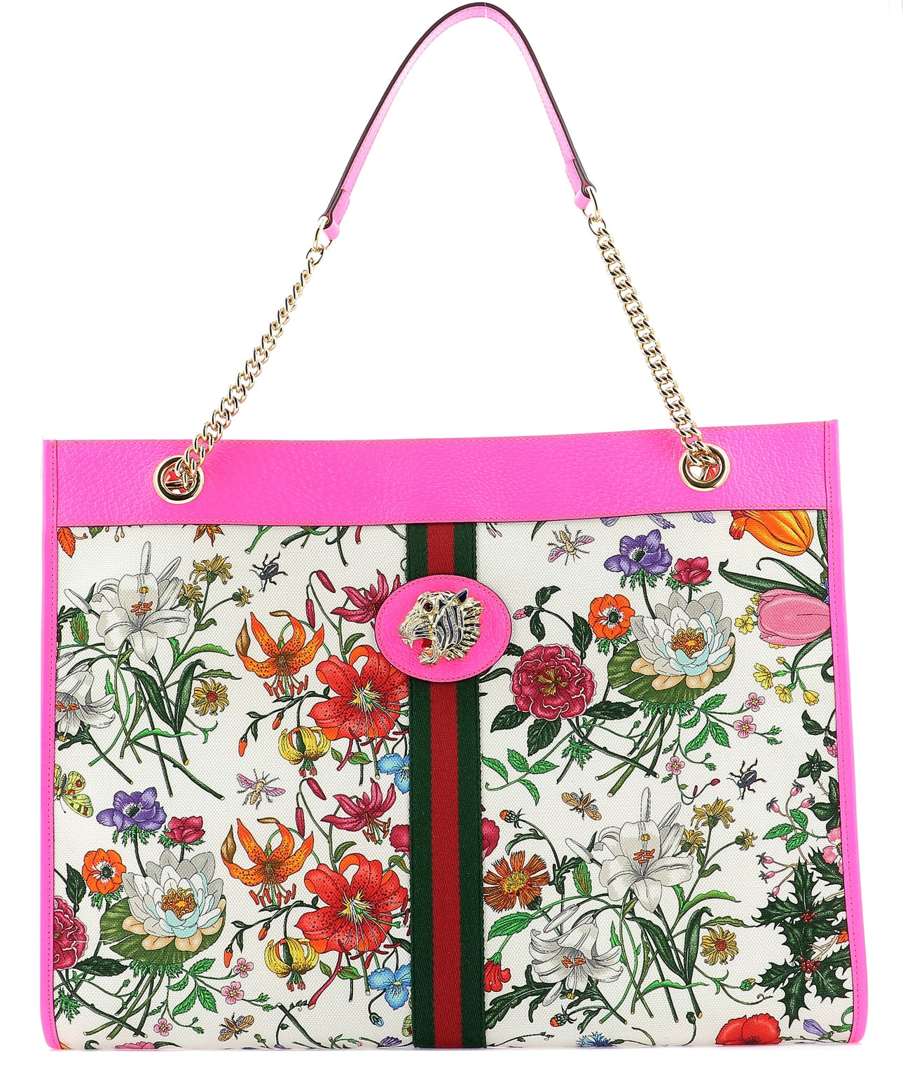 060532980f52 Gucci Neon Pink Leather Trim Floral Print Canvas Tote Bag | ModeSens