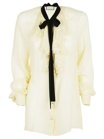 Gucci Ruffled Bow Tie Blouse