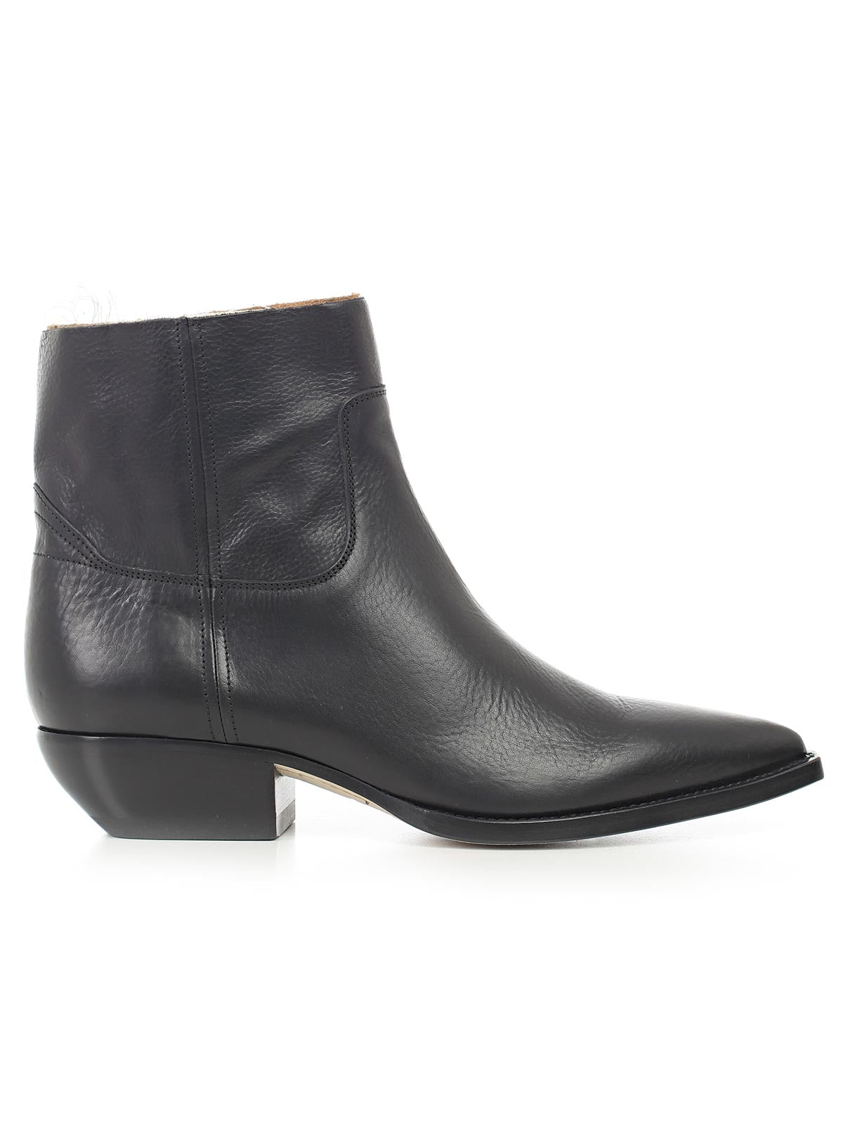 SAINT LAURENT POINTED LEATHER ANKLE BOOTS