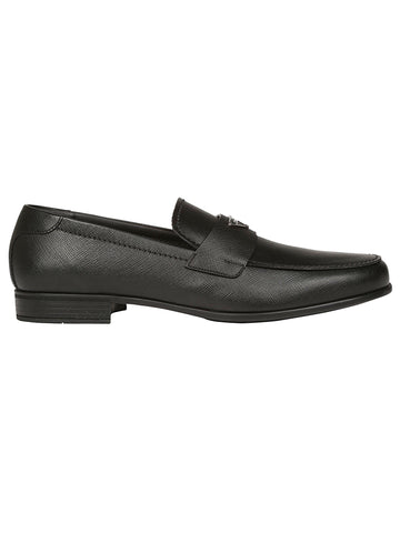 Prada Logo Plaque Leather Loafers