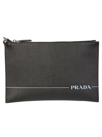 Prada Embossed Logo Zipped Clutch Bag