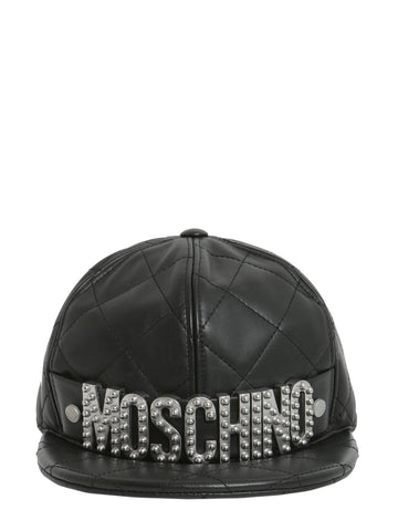 Moschino Logo Quilted Embellished Cap
