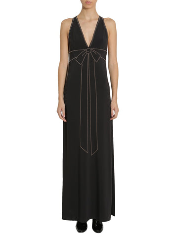 Boutique Moschino Cady Studded Bow Detail Maxi Dress