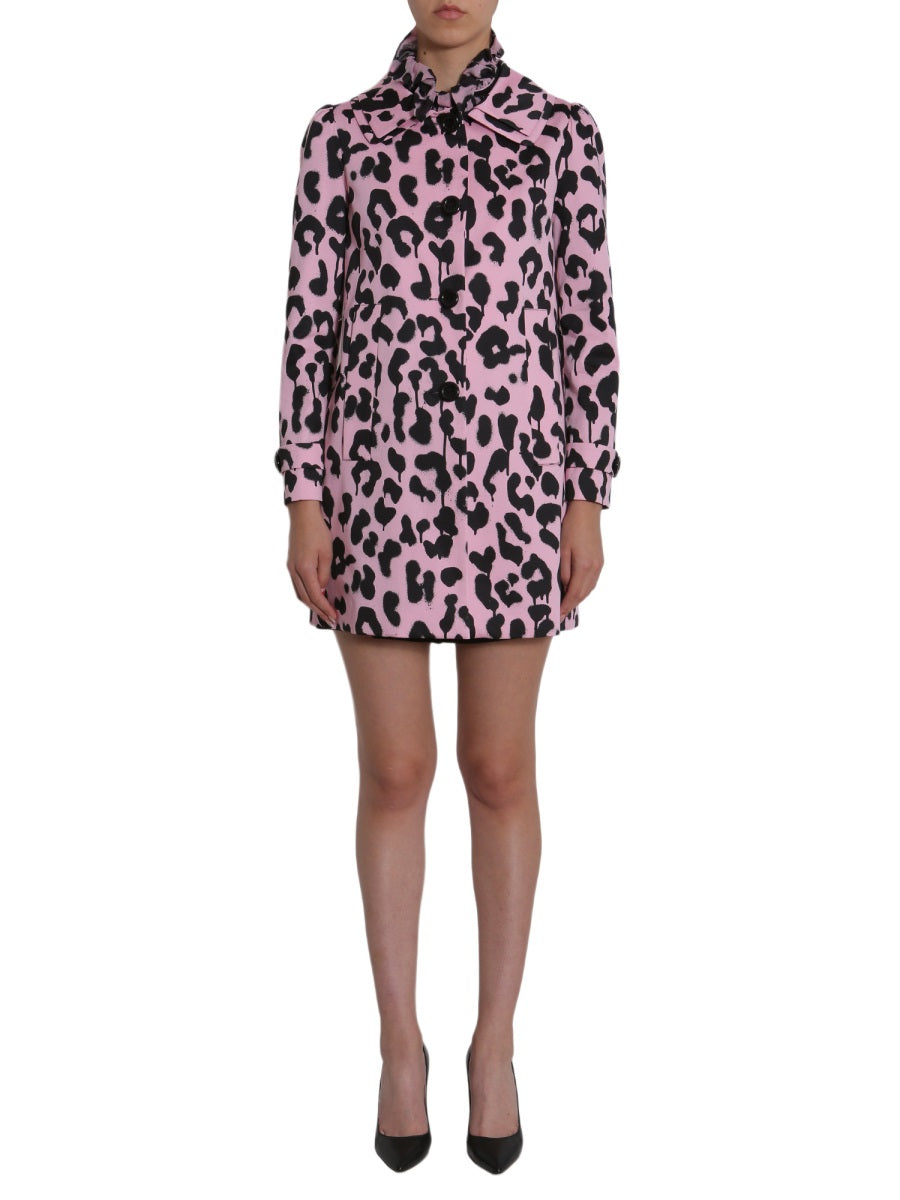 Boutique Moschino Coats BOUTIQUE MOSCHINO LEOPARD PRINT TIE NECK DETAIL COAT