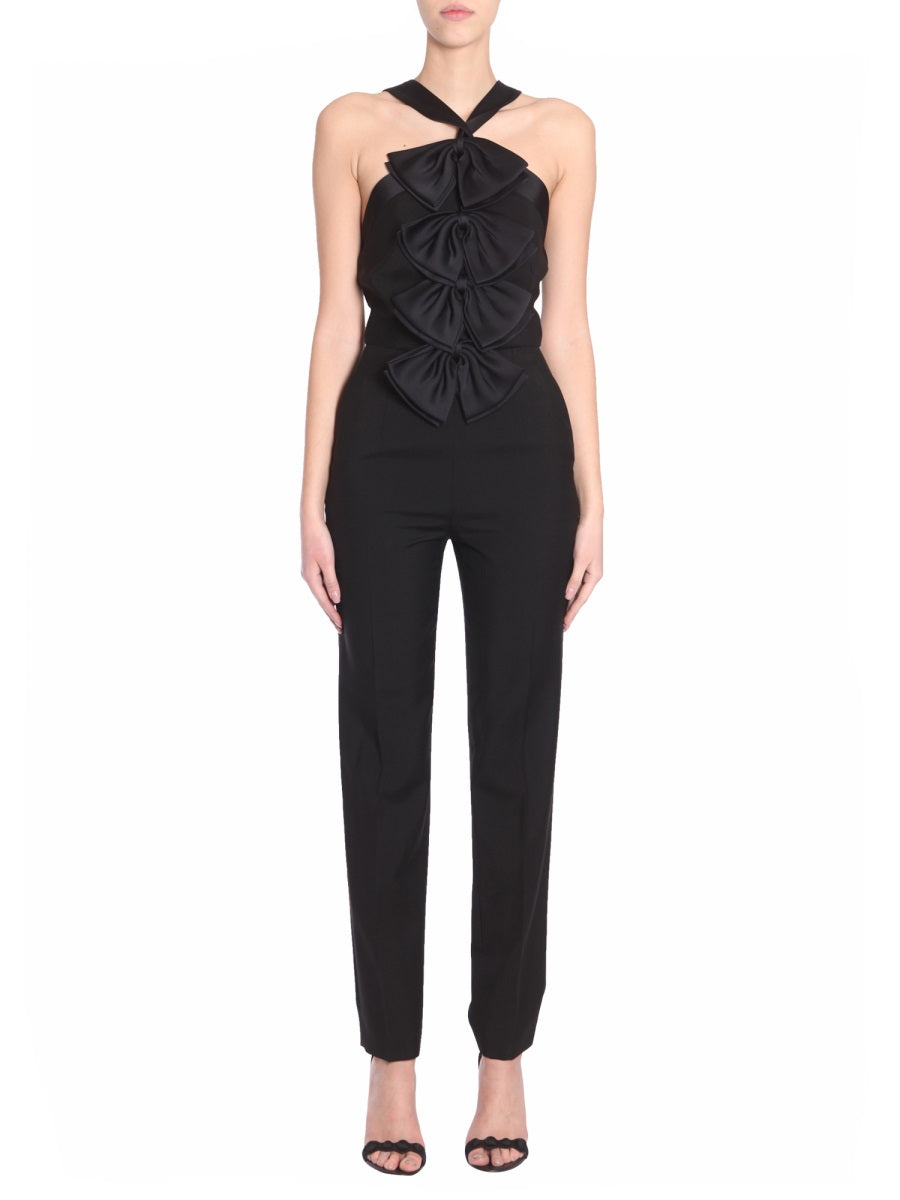 Givenchy Suits GIVENCHY BOW EMBELLISHED HALTER NECK JUMPSUIT