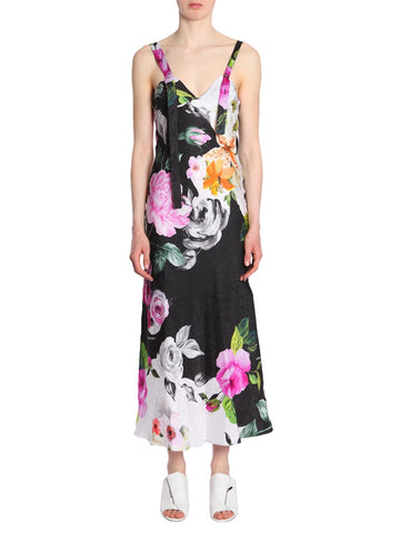 Off-White Floral Print Silk Dress
