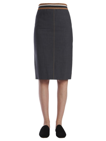 Brunello Cucinelli Elastic Waistband Pencil Skirt