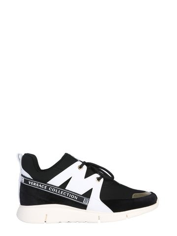Versace Collection Knitted Lace-Up Sneakers
