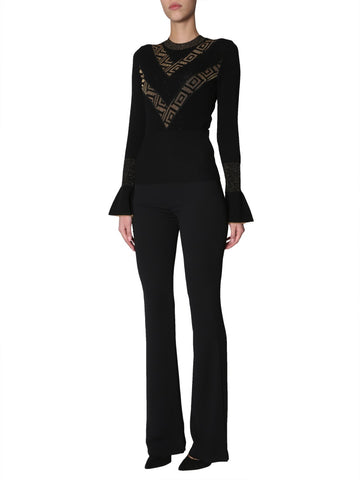 Versace Collection Ruffle Sleeves Patterned Sweater
