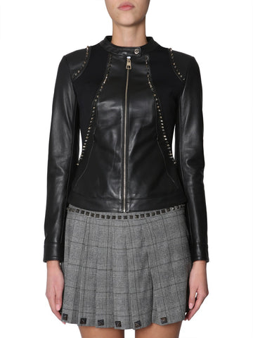 Versace Collection Leather Zipped Jacket