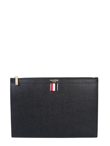 Thom Browne Leather Zip Up Tablet Holder