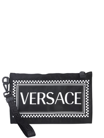 Versace Logo Embroidered Pouch