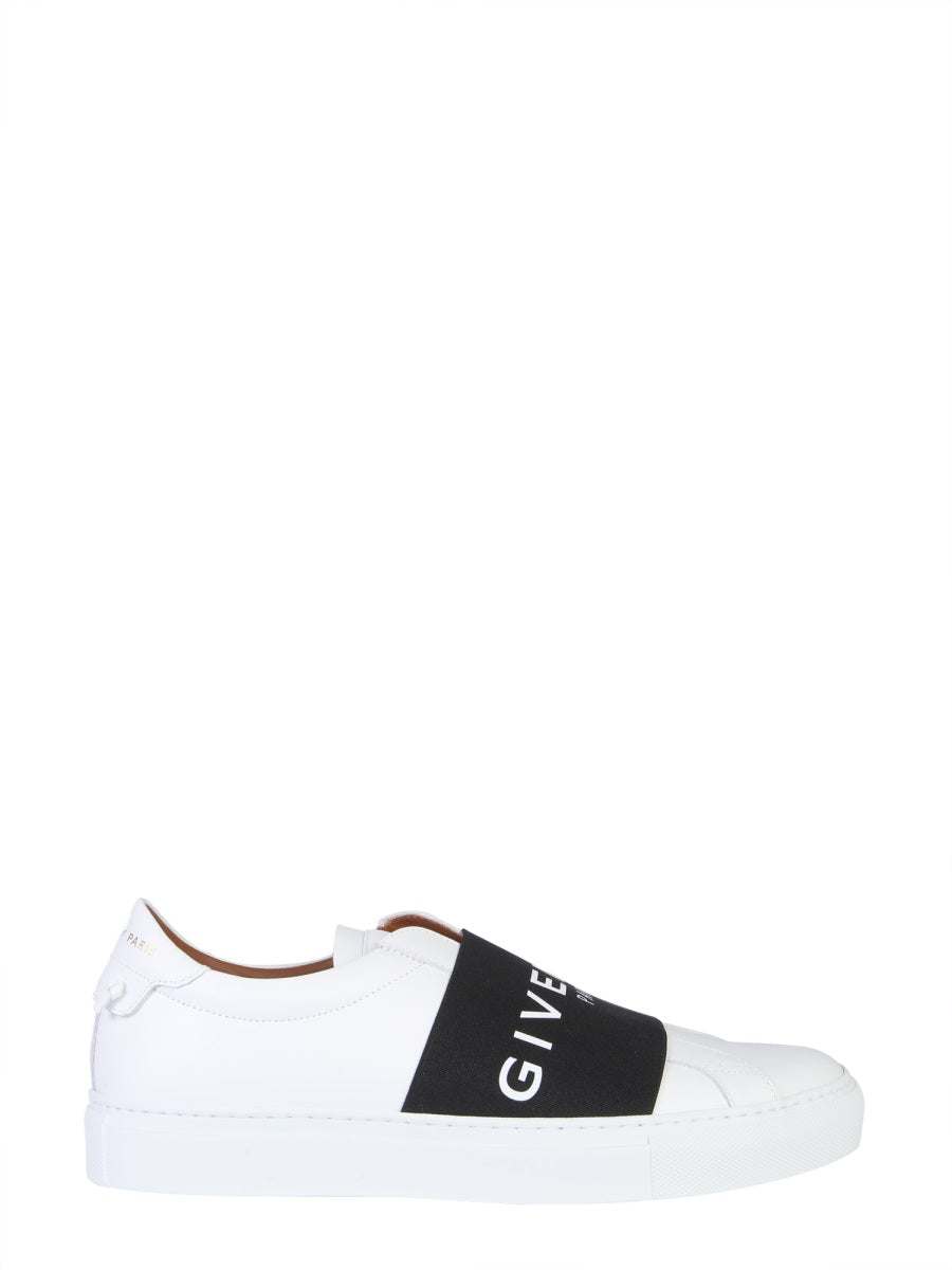 Givenchy Urban Street Logo-Print Leather Slip-On Sneakers - White In Black Multi
