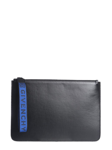 Givenchy Logo Strap Zipped Clutch Bag