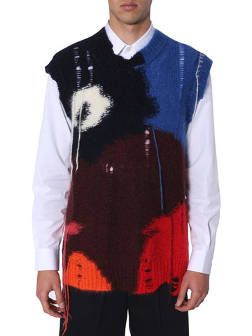 Alexander McQueen Colourful Shredded Sleeveless Sweater