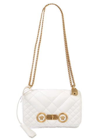 Versace Quilted Logo Embossed Shoulder Bag