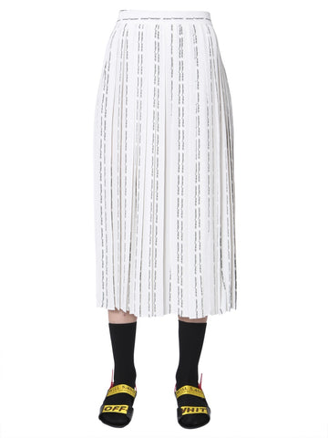 Off-White Logo Pleated Midi Skirt
